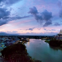 Panoramic view of Kuching in the evening
