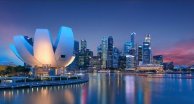 ArtScience Museum located within the integrated resort of Marina Bay Sands in the Downtown Core of the Central Area in Singapore